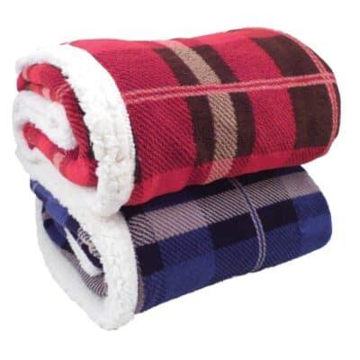 Lambswool Microsherpa Plaid Throw Blanket